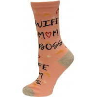 K.Bell Women's Wife Mom Boss Crew Socks 1 Pair, Pink, Women's 4-10 Shoe