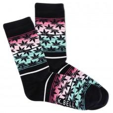 K.Bell Women's Surape Flower Crew Socks 1 Pair, Black, Women's 4-10 Shoe