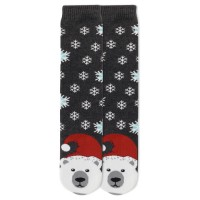 K.Bell Women's Polar Bear Tube Slipper Socks 1 Pair, Charcoal Heather, Women's 4-10 Shoe