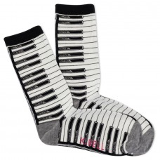 K.Bell Women's Piano Crew Socks 1 Pair, Ivory, Women's 4-10 Shoe