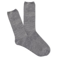 K.Bell Women's Slub Marl Crew Socks 1 Pair, Oxford Grey Marl, Women's 4-10 Shoe