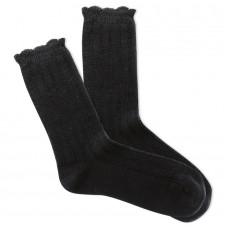 K.Bell Women's Scallop Tuck Stitch Crew Socks 1 Pair, Black, Women's 4-10 Shoe