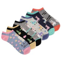 K.Bell Women's Llama Queen 6 Pair Pack No Show Socks, Assorted, Women's 4-10 Shoe