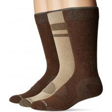 Columbia Balance Point Cotton Crew Sock 3 Pair, M10-13, Khaki/Brown