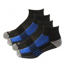 Columbia 1/2 Cushion Quarter Arch Support Poly Blend Sock 6 Pair, M10-13, Black/Blue