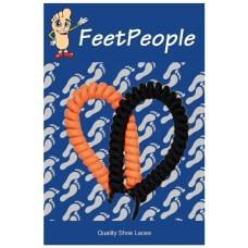 FeetPeople Curly Laces, Black and Orange Combo