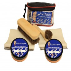 FeetPeople Deluxe Leather Care Kit with Travel Bag, Tan