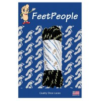 FeetPeople Strong Round Laces, Black Reinforced w/ Natural Kevlar
