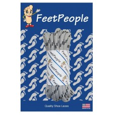 FeetPeople Strong Round Laces, Gray Reinforced w/ Black Kevlar