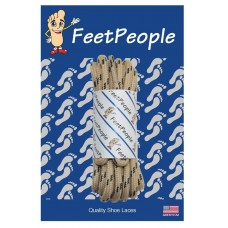 FeetPeople Strong Round Laces, Tan Reinforced w/ Black Kevlar