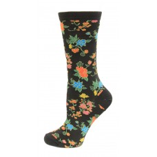 HotSox Asian Floral Socks, Black, 1 Pair, Women Shoe 4-10