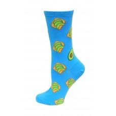 HotSox Avocado Toast Socks, Aqua, 1 Pair, Women Shoe 4-10