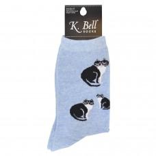 K. Bell Black & White Cats Socks, Chambray, Sock Size 9-11/Shoe Size 4-10, 1 Pair
