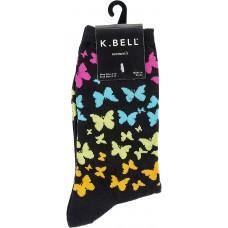 K. Bell Butterfly Rainbow Crew Socks, Black, Sock Size 9-11/Shoe Size 4-10, 1 Pair