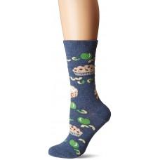 K. Bell Apple Pie Crew Socks - American Made, Denim Heather, Sock Size 9-11/Shoe Size 4-10, 1 Pair