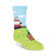 K. Bell Boy's Fireman Crew Socks, Green, Sock Size 7.5-9/Shoe Size 11-4, 1 Pair