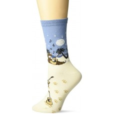 K. Bell Beach Cat Crew Socks 1 Pair, Sand, Womens Sock Size 9-11/Shoe Size 4-10