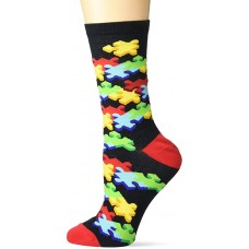 K. Bell 3D Jigsaw Crew Socks 1 Pair, Black, Women's  Size Shoe 9-11