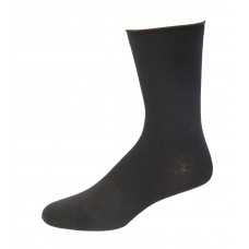 Medipeds Cotton Aloe Infused Roll Top Crew Socks 3 Pair, Black, W7-10