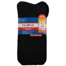 Medipeds Cooolmax Cotton Half Cushion Extra Wide Crew Socks 2 Pair, Black, W7-10