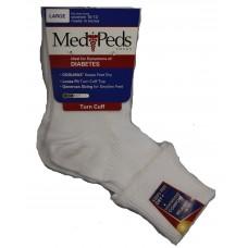 Medipeds Diabetic Light Weight Turn Cuff Socks 1 Pair, White, W10-13