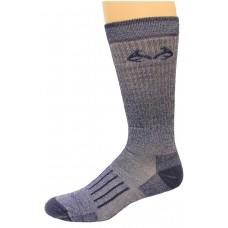 RealTree Full Cushion Merino Wool Crew Socks, 1 Pair, Large (M 9-13), Navy
