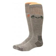 RealTree Heavyweight Merino Wool Elimishield Boot Socks, 2 Pair, Large (M 9-13), Green/Orange