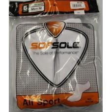 Sof Sole All Sport No Show Socks (6pr), White, Mens 5-9.5