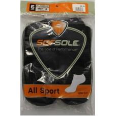 Sof Sole All Sport Low Cut Socks (6pr), Black, Mens 5-9.5