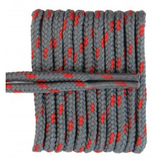 FeetPeople High Quality Round Laces For Boots And Shoes, Grey With Red Chip