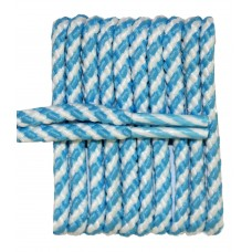 FeetPeople High Quality Round Laces For Boots And Shoes, Carolina Blue And Whie Stripe