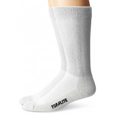 Top Flite Non-Binding Ultra-Dri Crew Socks, White, (L) W 9-12 / M 9-13, 2 Pair