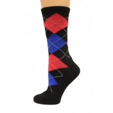 Wise Blend Argyle Crew Socks, 1 Pair, Black, Medium, Shoe Size W 6-9