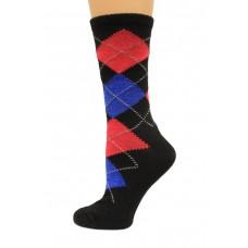 Wise Blend Argyle Crew Socks, 1 Pair, Black, Medium, Shoe Size W 6-9