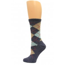 Wise Blend Argyle Crew Socks, 1 Pair, Denim, Medium, Shoe Size W 6-9