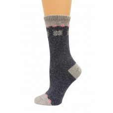 Wise Blend Angora Snow Flake Crew Socks, 1 Pair, Denim, Medium, Shoe Size W 6-9