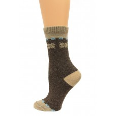Wise Blend Angora Snow Flake Crew Socks, 1 Pair, Brown, Medium, Shoe Size W 6-9