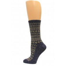 Wise Blend Angora Aztec Crew Socks, 1 Pair, Denim, Medium, Shoe Size W 6-9