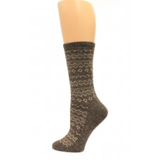 Wise Blend Angora Aztec Crew Socks, 1 Pair, Brown, Medium, Shoe Size W 6-9