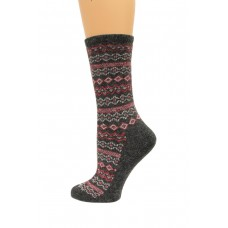 Wise Blend Angora Aztec Crew Socks, 1 Pair, Charcoal, Medium, Shoe Size W 6-9