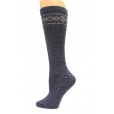 Wise Blend Angora Flower Knee High Socks, 1 Pair, Denim, Medium, Shoe Size W 6-9