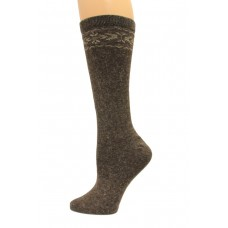 Wise Blend Angora Flower Knee High Socks, 1 Pair, Brown, Medium, Shoe Size W 6-9