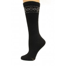 Wise Blend Angora Flower Knee High Socks, 1 Pair, Black, Medium, Shoe Size W 6-9