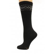 Wise Blend Angora Flower Knee High Socks, 1 Pair, Black, Medium, Shoe Size W 6-9