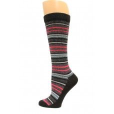 Wise Blend Angora Stripe Knee High Socks, 1 Pair, Black, Medium, Shoe Size W 6-9