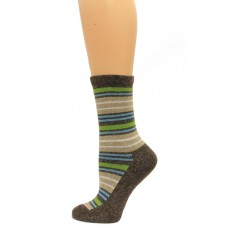 Wise Blend Angora Stripe Crew Socks, 1 Pair, Brown, Medium, Shoe Size W 6-9