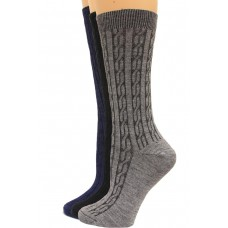 Wise Blend Cable Crew Socks, 3 Pair, Classics, Medium, Shoe Size W 6-9